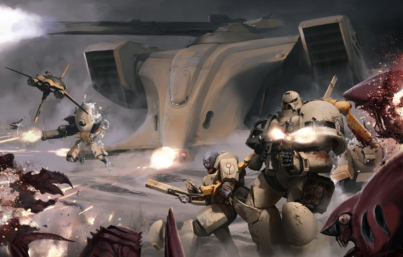 Photo wallpaper battle, warhammer, space Marines, tyranids, space marines, 40k, tau, Tau, tyranid, XV25