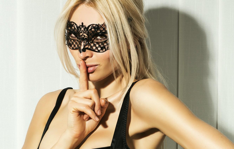 Photo wallpaper look, girl, mask, blonde, beautiful, lips. gesture