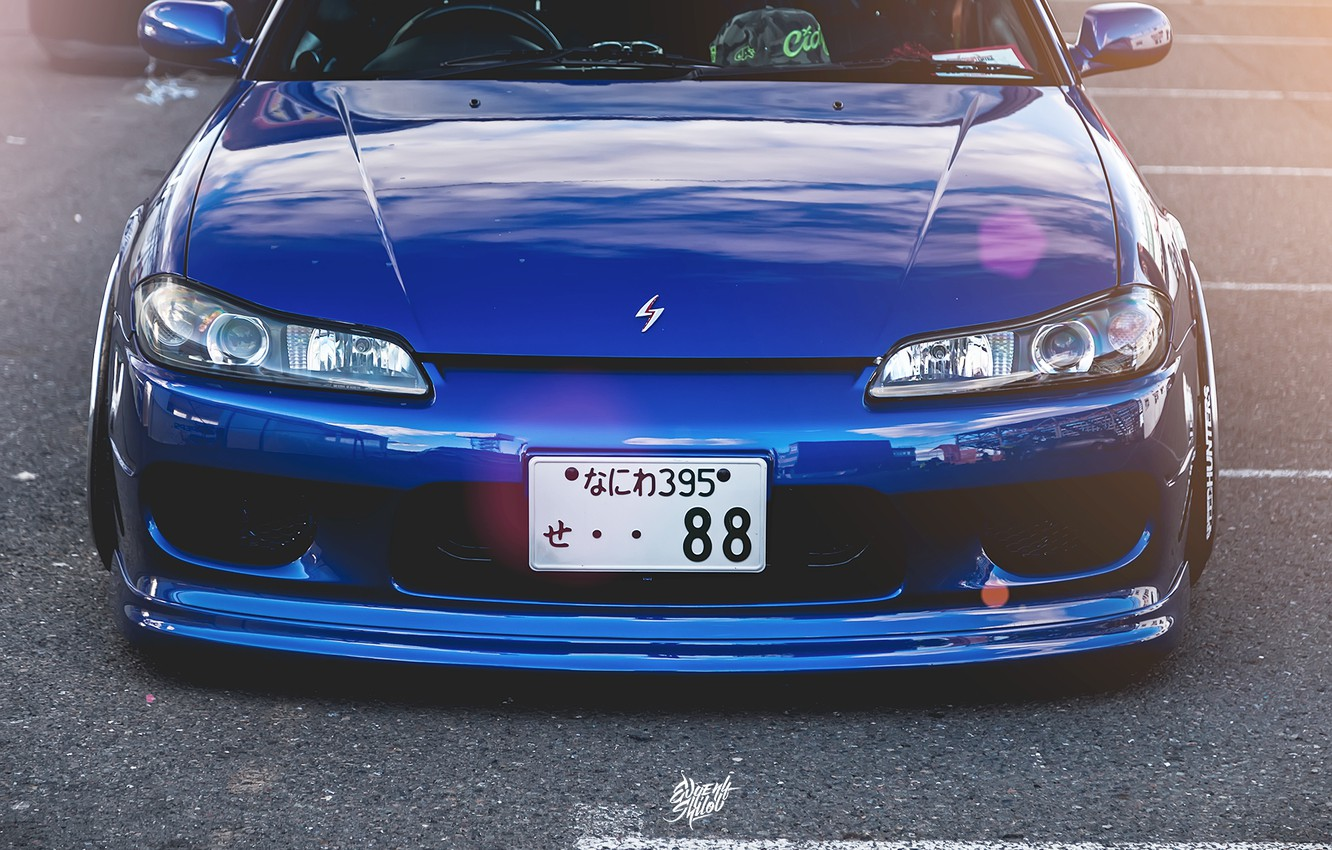 Photo wallpaper Auto, Tuning, Nissan, S15, Silvia, Nissan, Blue, Front, Before, JDM, Stance, Sylvia, Works