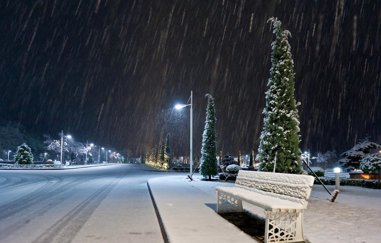 Photo wallpaper the sky, light, snow, trees, night, the city, lights, street, lantern, bench