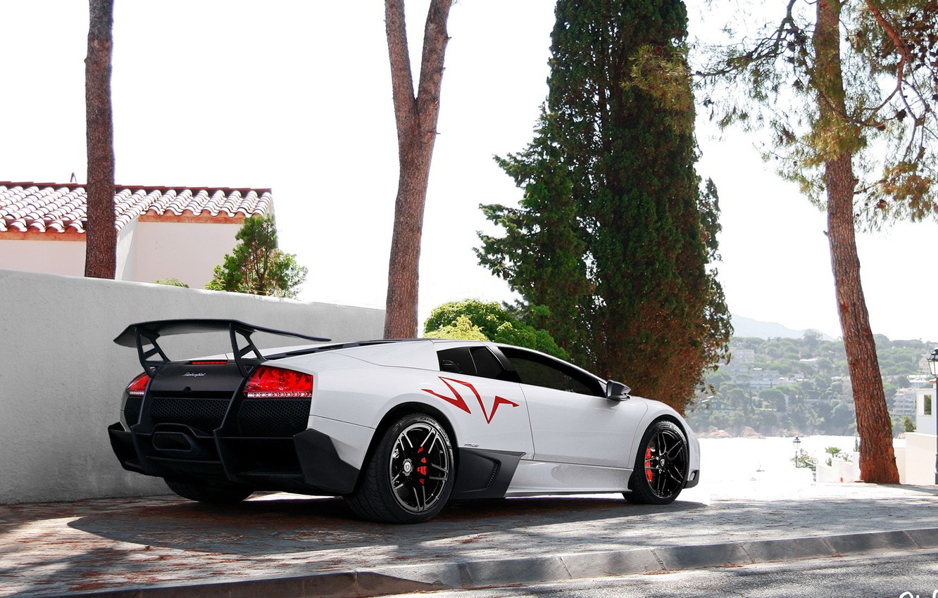 Photo wallpaper white, tuning, Lamborghini, SuperVeloce, LP670–4, Murciélago