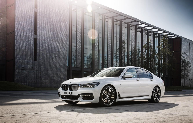 Photo wallpaper light, reflection, BMW, white, sun, 730d