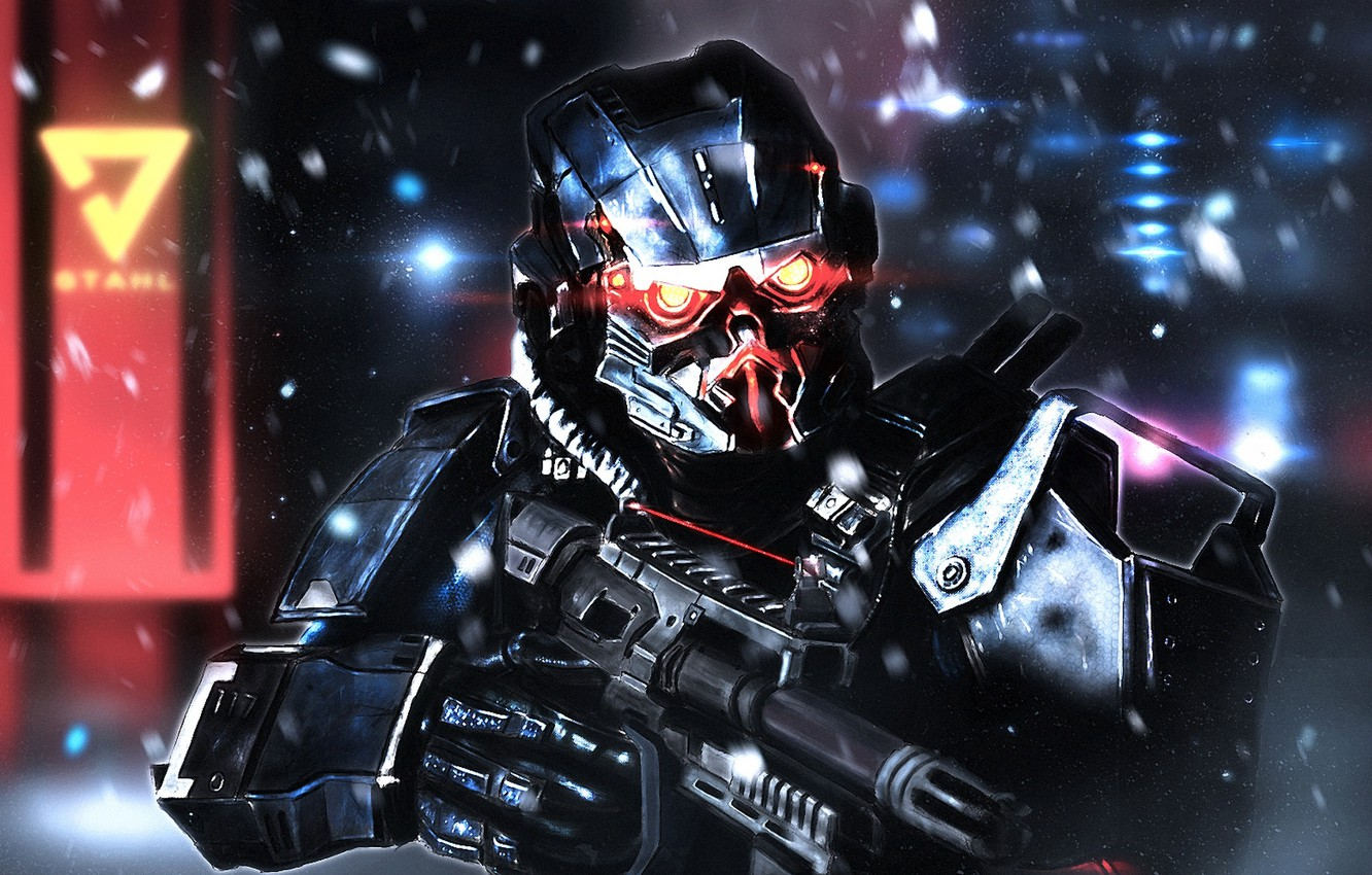Photo wallpaper soldiers, art, PlayStation 4, Sony Computer Entertainment, Guerrilla Games, Killzone: Shadow Fall, Helghast, Assault Infantry