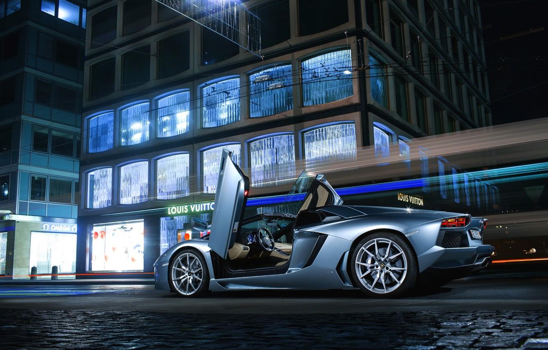 Photo wallpaper Roadster, Lamborghini, City, LP700-4, Aventador, Supercars, Road, Silver, Door, Ligth
