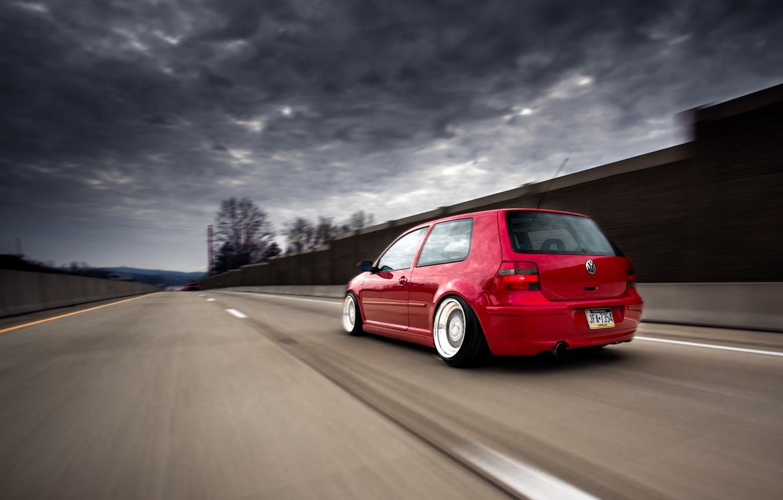 Photo wallpaper road, red, tuning, volkswagen, red, Golf, golf, Volkswagen, stance, MK4