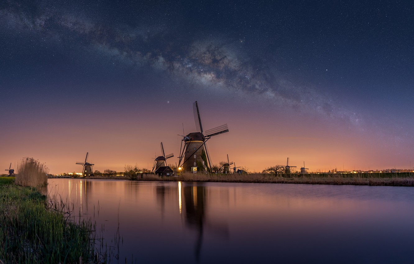 Photo wallpaper the sky, water, stars, night, river, channel, Netherlands, the milky way, windmills