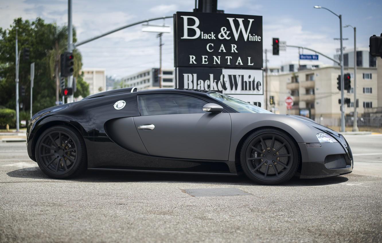 Photo wallpaper Bugatti, Veyron, Car, Black, Rental, & White