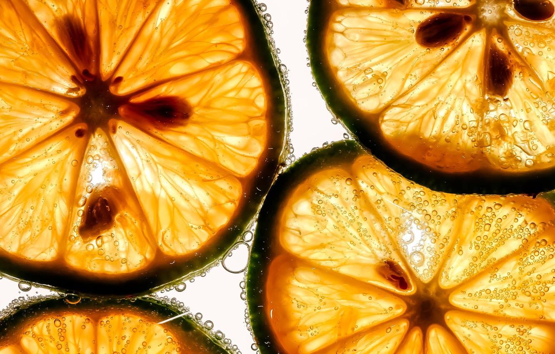 Photo wallpaper macro, fruit, lime, slices
