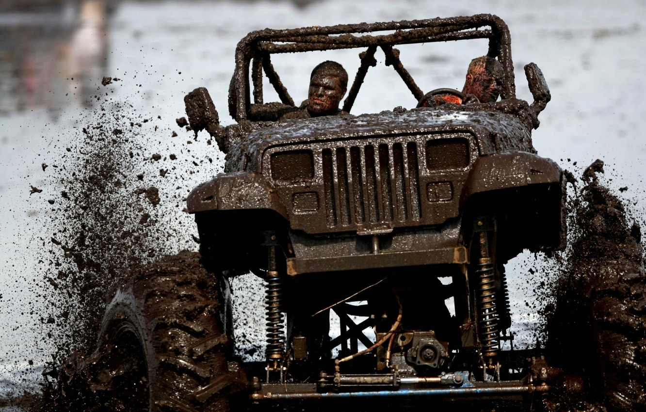 Photo wallpaper squirt, background, tuning, dirt, SUV, Jeep, tuning, the front, Wrangler, Ringler, Jeep, happy faces