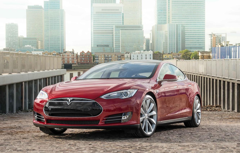 Photo wallpaper Tesla, industrial, Model S, 2014