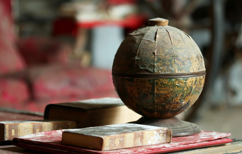 Photo wallpaper background, books, globe
