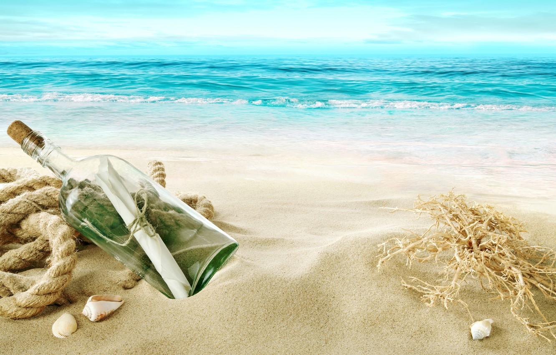 Photo wallpaper sand, sea, beach, shore, shell, beach, sea, sand, shore, letter, bottle, seashells