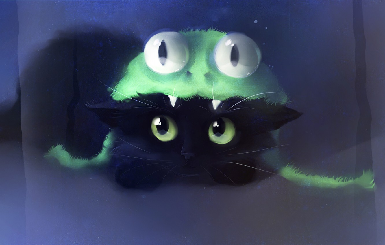 Photo wallpaper cat, cat, look, kitty, hat, figure, frog, artist, apofiss, team frog