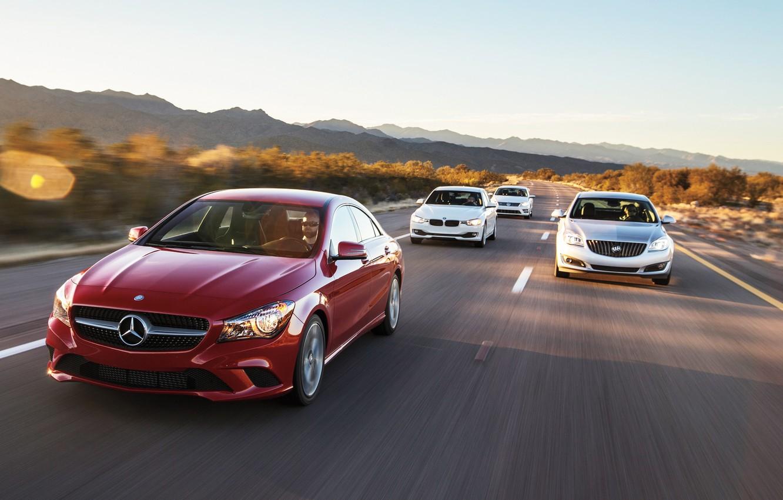 Photo wallpaper Cars, Cars, Buick Regal, Volkswagen CC, BMW 320i, Mercedes-Benz CLA250