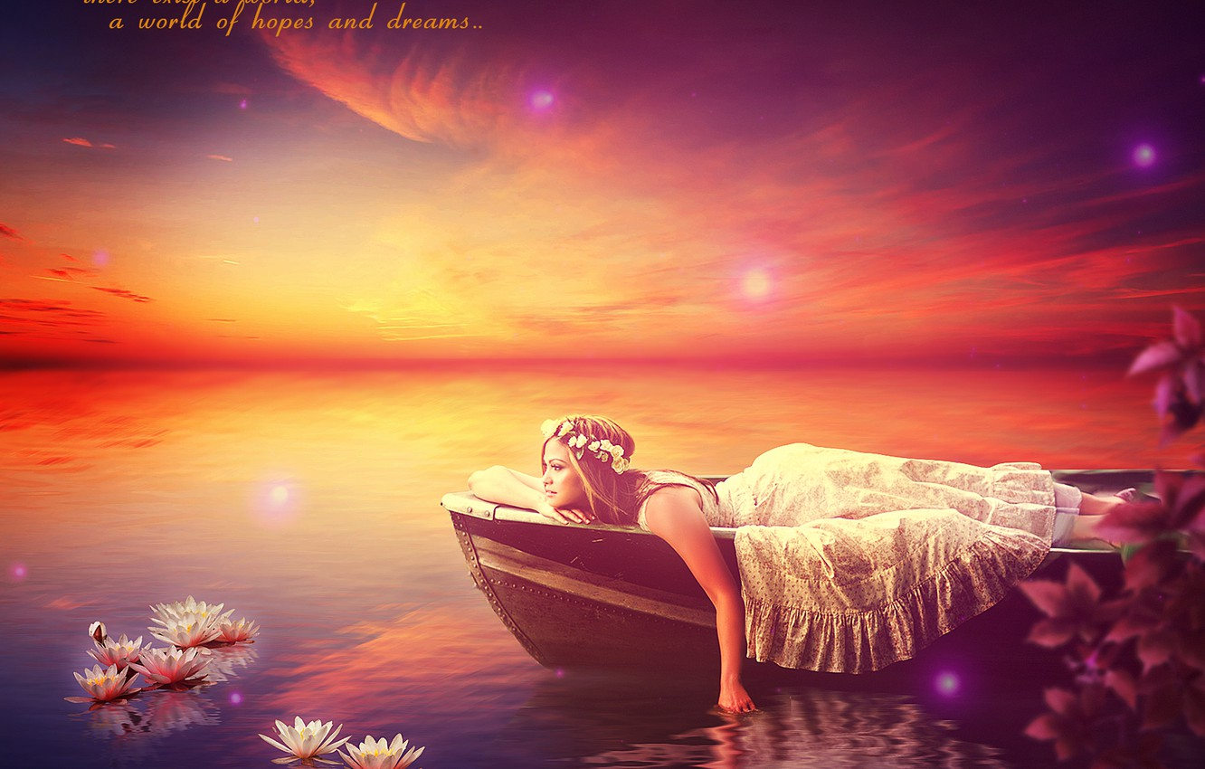 Photo wallpaper water, girl, flowers, boat, EsotericIllusion