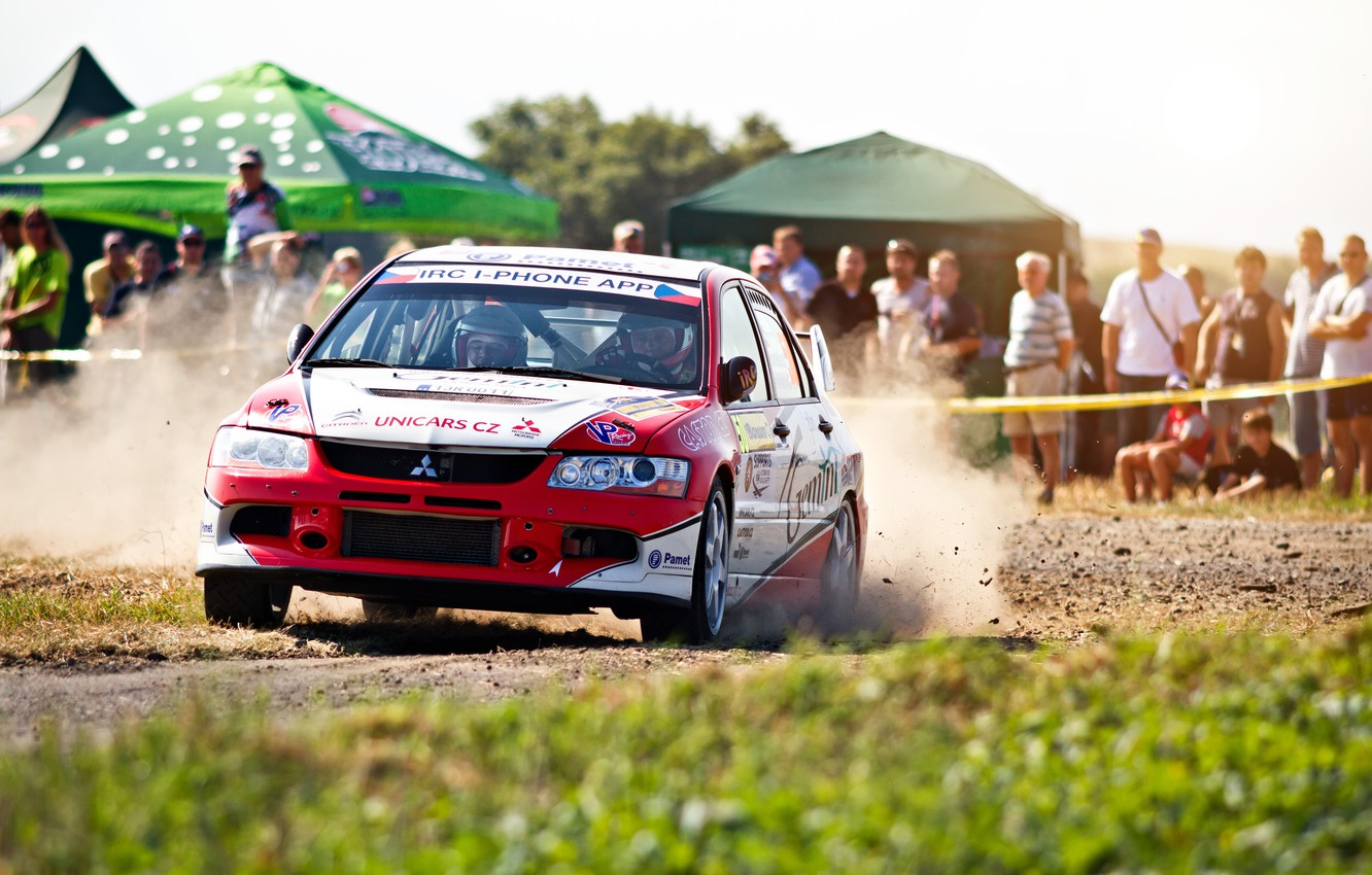 Photo wallpaper Auto, Sport, People, Race, Mitsubishi, Lancer, Evolution, WRC, Rally, Rally, The front