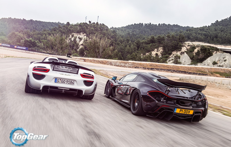 Photo wallpaper McLaren, Porsche, Top Gear, Speed, Sun, 918, Supercars, Spider, Spoilers, Rear