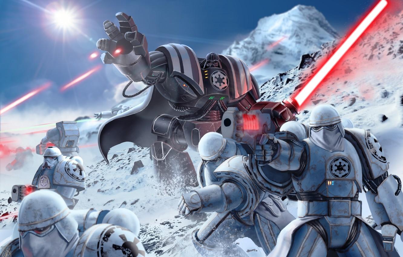 Photo wallpaper star wars, darth vader, armor, art, stormtrooper, lightsaber,