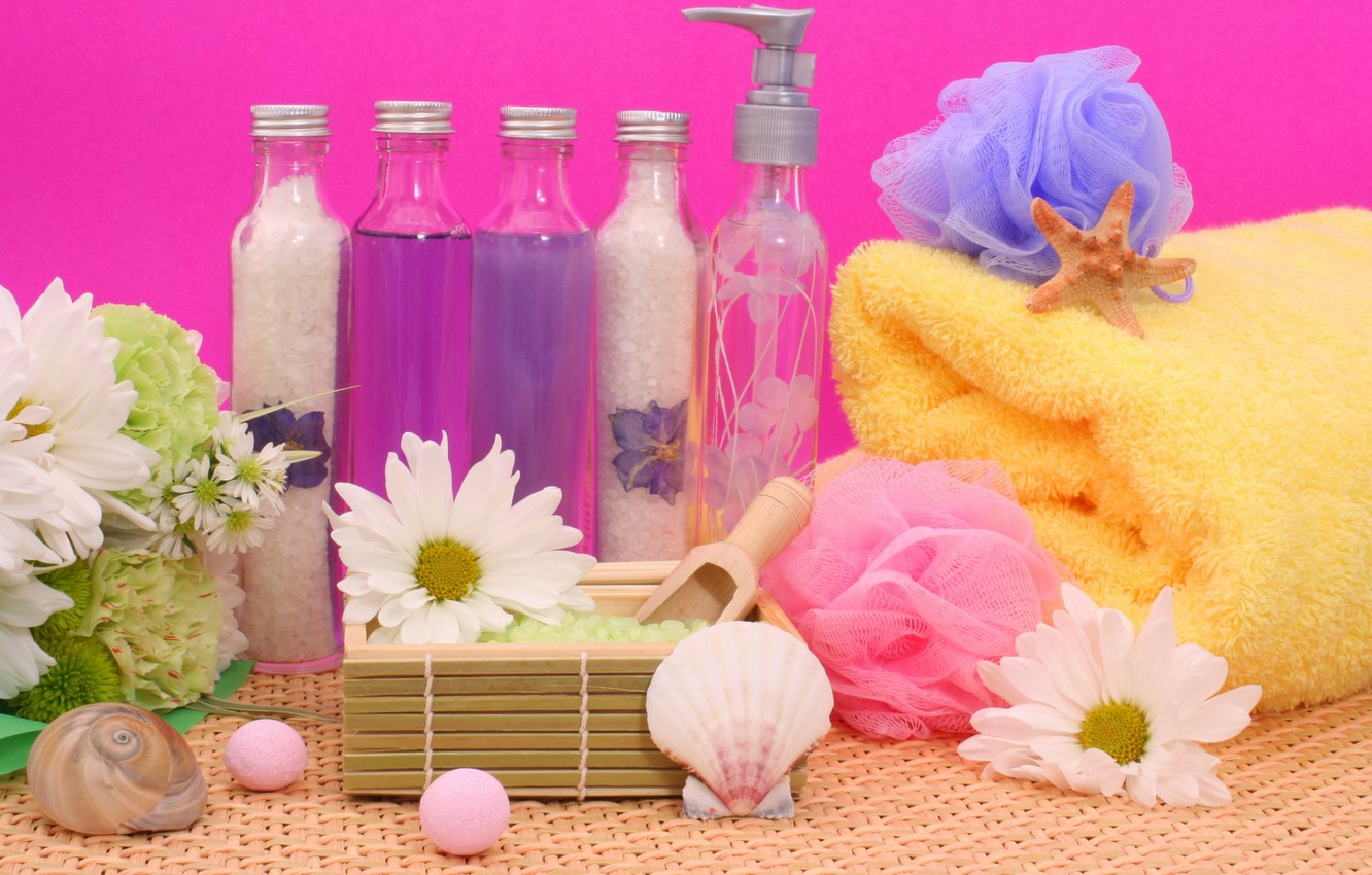 Photo wallpaper flowers, stones, towel, sink, crystals, flowers, rocks, Spa, bottles, salt, shell, spa, bottle, salt, towel, ...