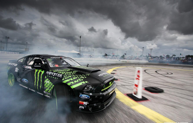 Photo wallpaper Ford, Monster Energy, Formula Drift, Nitto Tire Mustang RTR