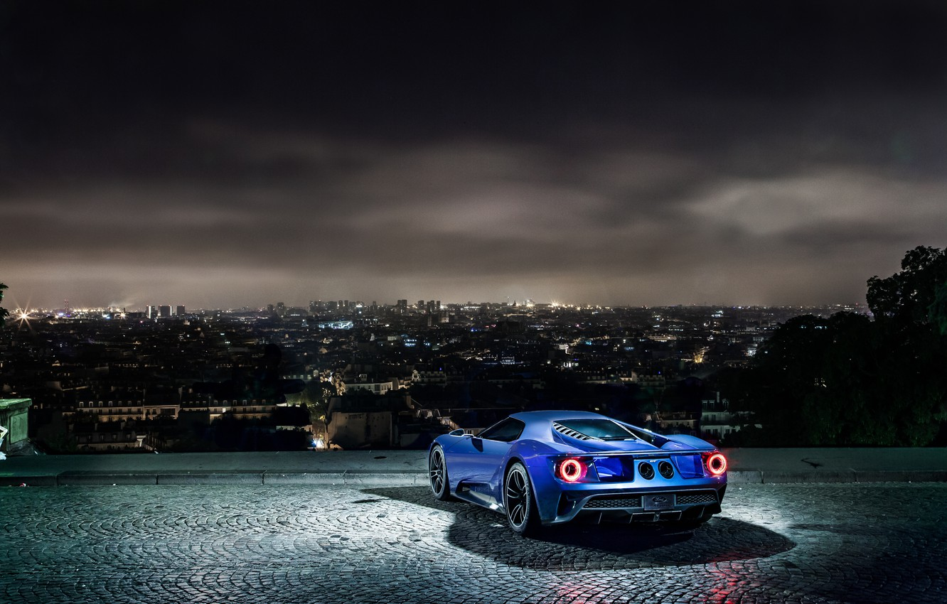 Photo wallpaper night, the city, lights, view, Ford, Parking, sports car