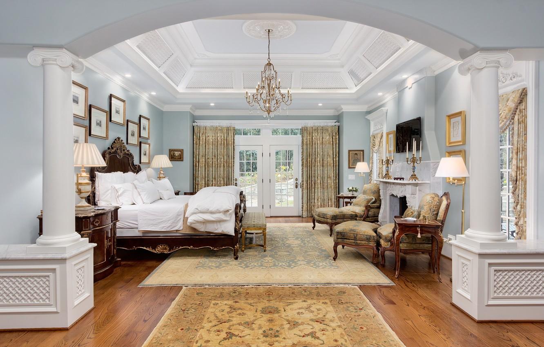 Photo wallpaper design, retro, bed, interior, the ceiling, chandelier, bedroom
