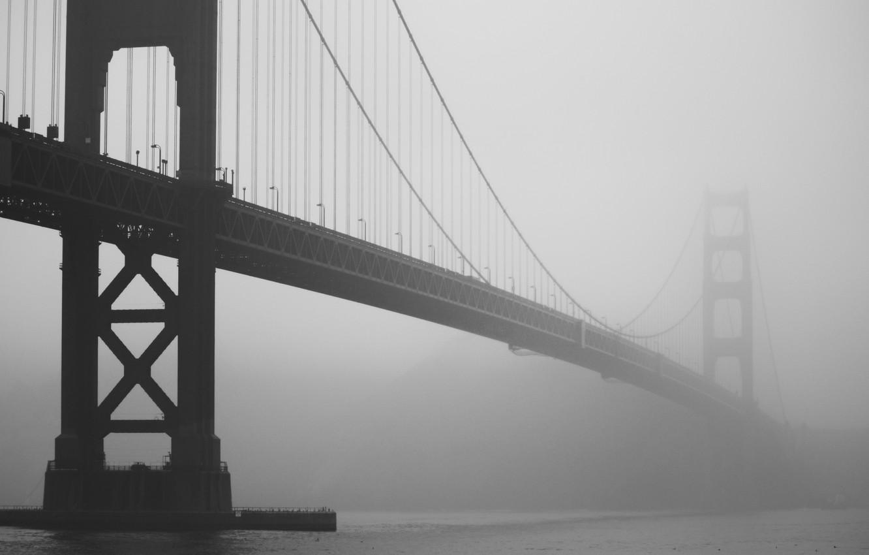 Photo wallpaper bridge, fog, photo, Golden gate, CA, San Francisco, h b