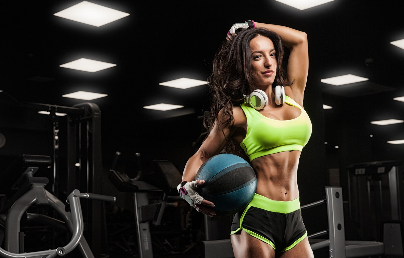 Wallpaper ball, pose, female, fitness, gym, music headphones