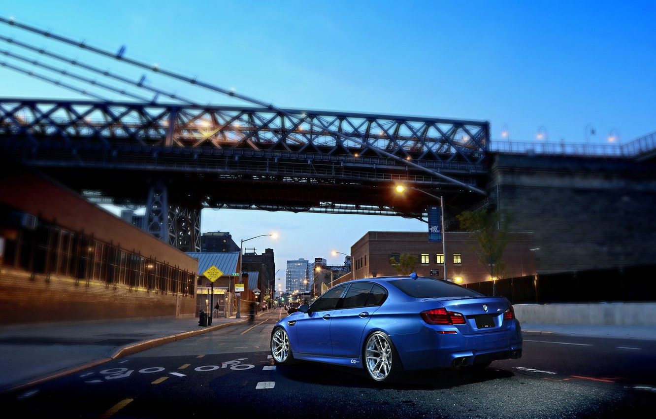 Photo wallpaper BMW, Blue, Glow, Bridge, Lights, Night, street, Tuning, F10, Road, Sedan, 5 Series, Wheels, Traffic