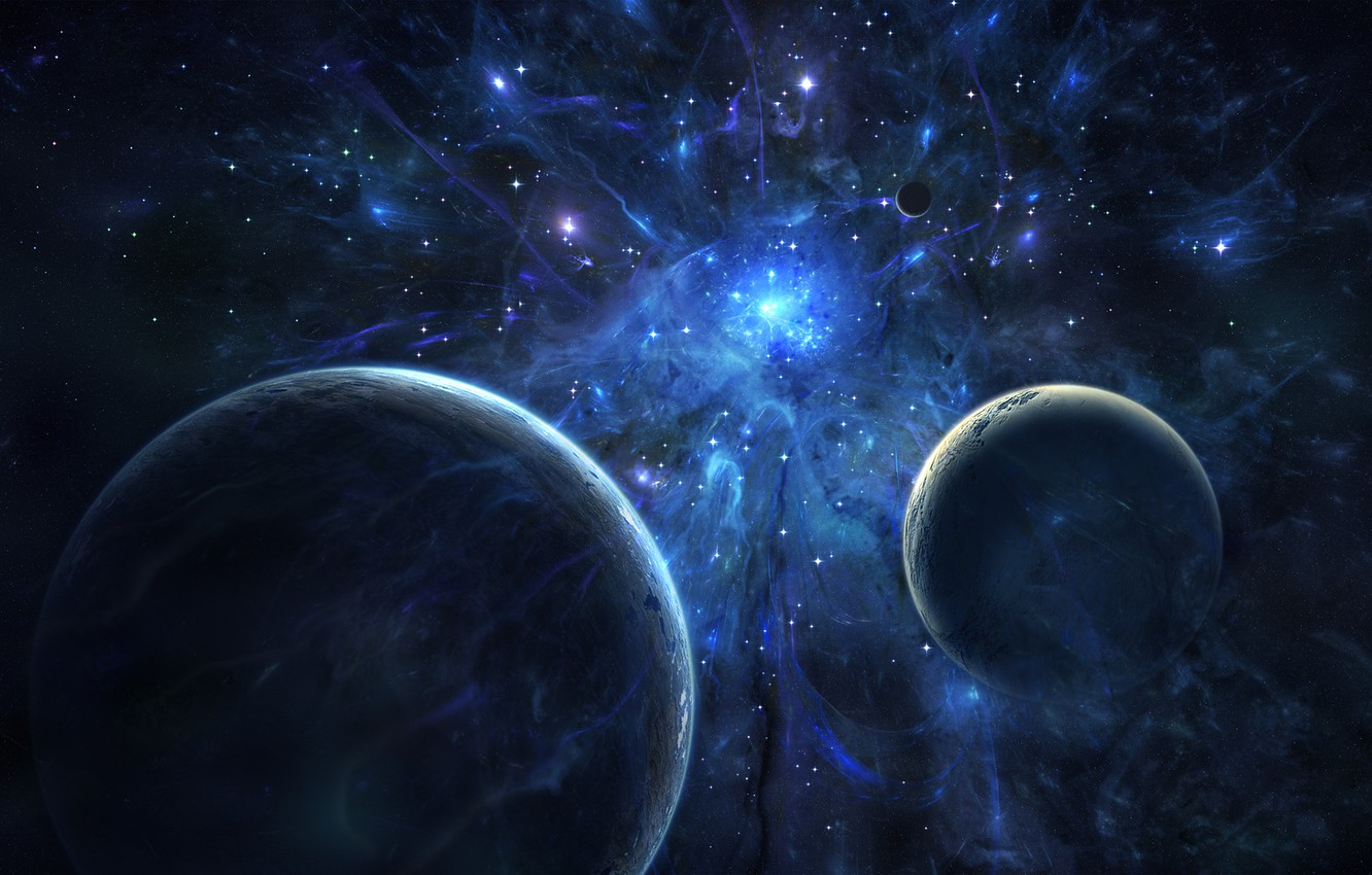 Photo wallpaper space, stars, blue, planet, phenomenon