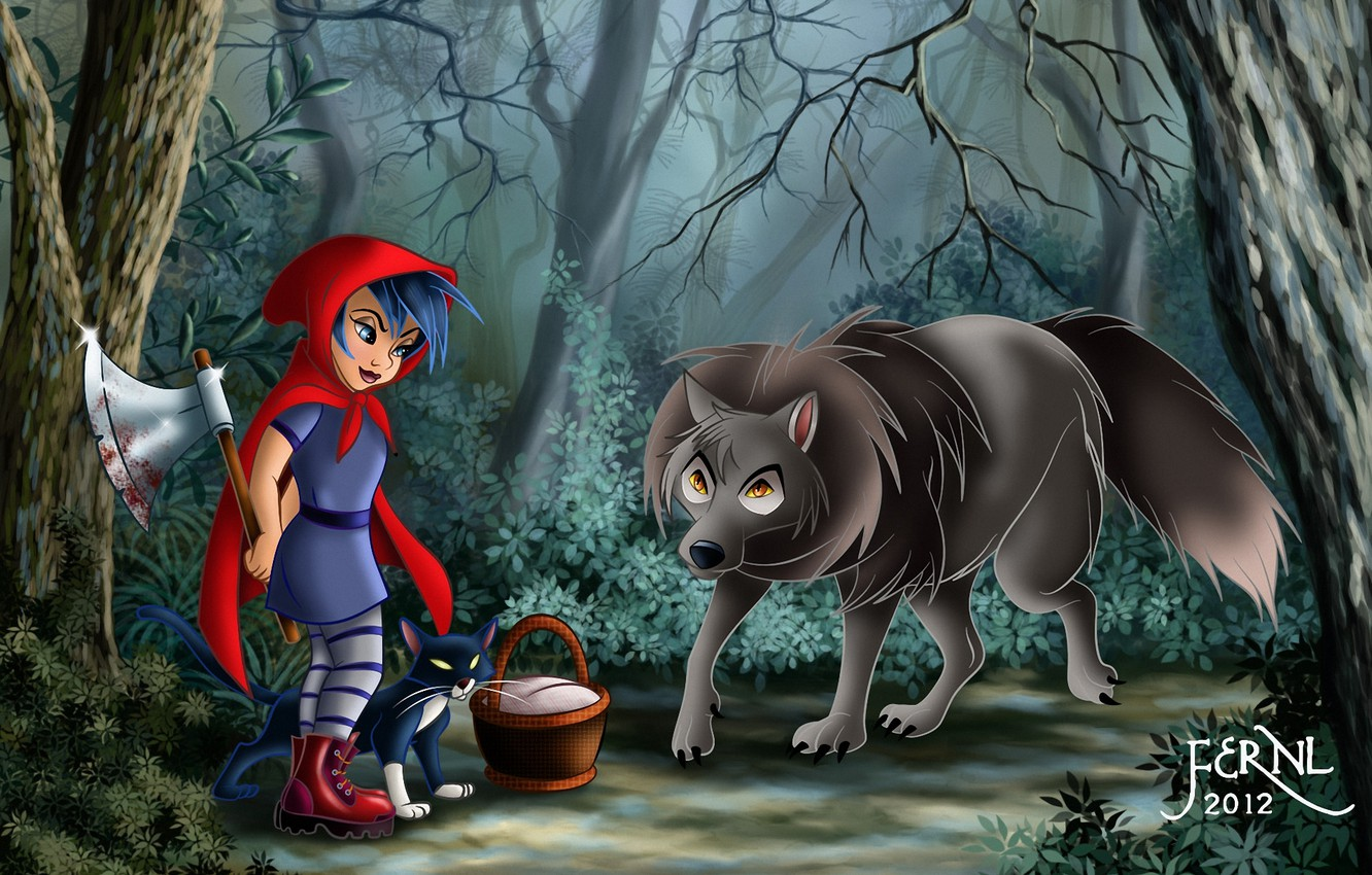 Photo wallpaper forest, cat, cat, basket, blood, wolf, little red riding hood, art, girl, axe, basket, Red ...