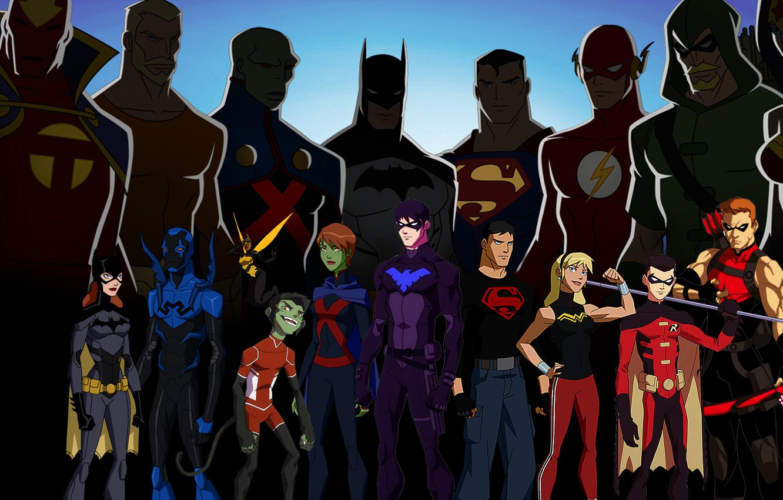Photo wallpaper Wonder Woman, Batman, heroes, Robin, Superman, dc comics, Green Arrow, Flash, Aquaman, Nightwing, Martian Manhunter, …