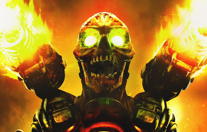 Photo wallpaper fire, skull, monster, gun, teeth, shot, mutant, DooM, id Software, ZeniMax Media