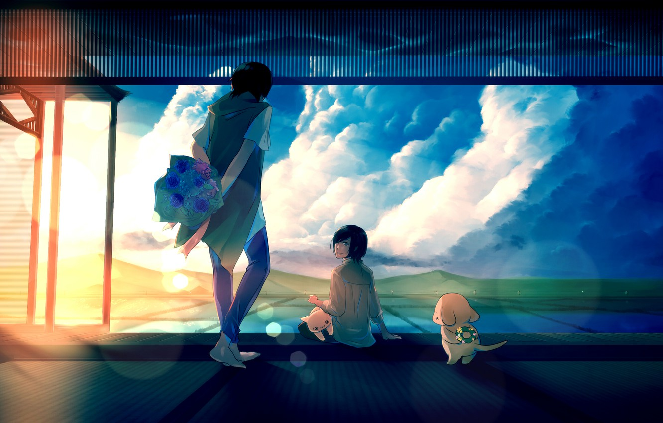 Photo wallpaper the sky, cat, girl, the sun, clouds, sunset, flowers, dog, bouquet, anime, art, guy, wreath, …