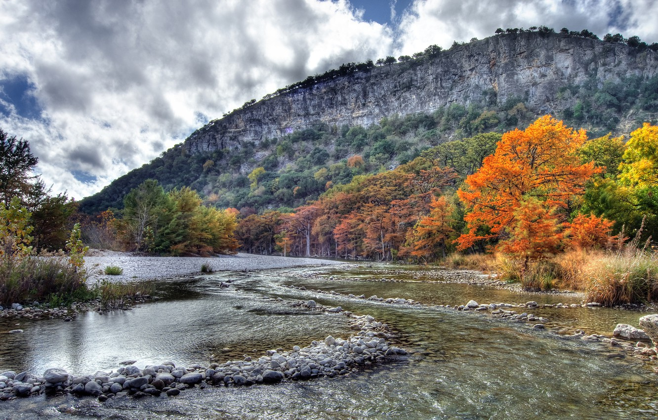 Photo wallpaper autumn, the sky, leaves, clouds, trees, landscape, mountains, river, stones, foliage, yellow