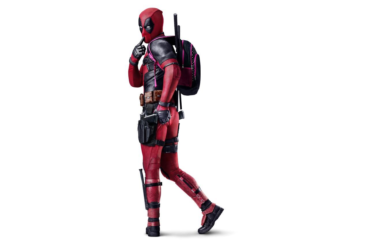 Photo wallpaper Action, Ryan Reynolds, Red, Black, Warrior, with, White, Guns, Deadpool, Eyes, Ninja, bag, Year, MARVEL, …