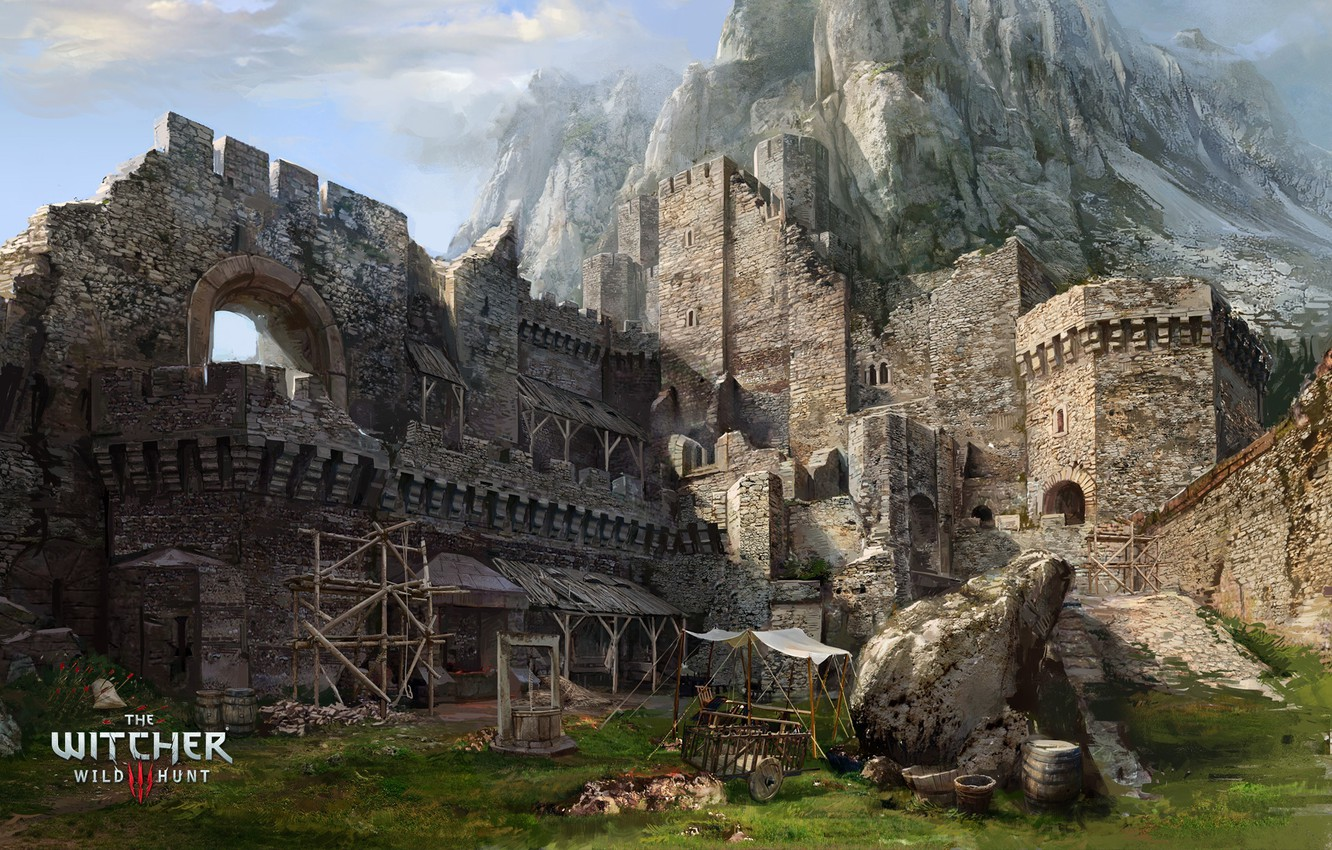 Photo wallpaper mountain, well, fortress, The Witcher, The Witcher 3 Wild Hunt, Kaer Morhen