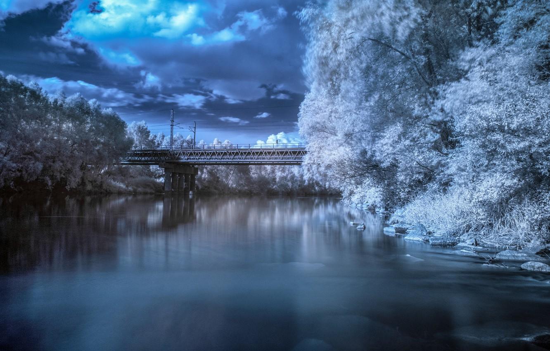 Photo wallpaper bridge, river, river, bridge