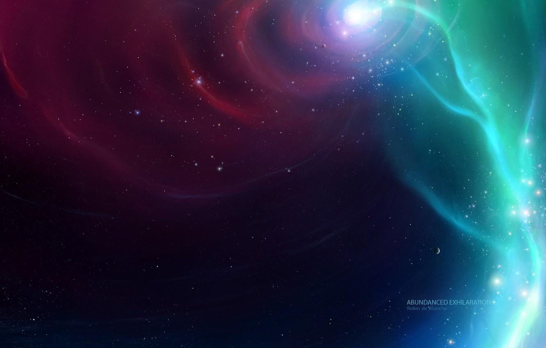 Photo wallpaper space, stars, nebula, the universe, vortex, stars, fog, robin de blanche