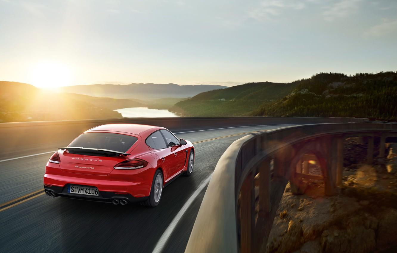 Photo wallpaper sunset, bridge, Porsche, Panamera, Porsche, Panamera, GTS, 2015
