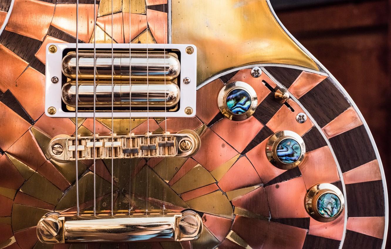 Photo wallpaper macro, guitar, electric guitar