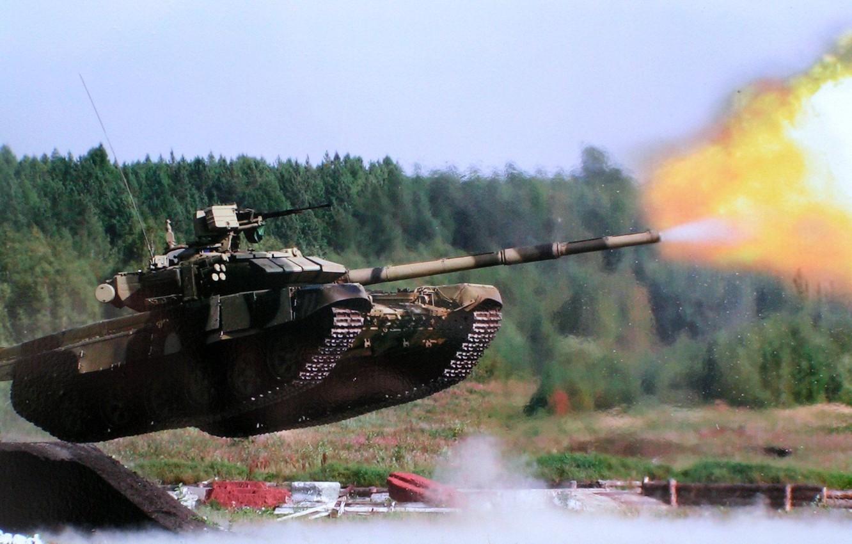 Photo wallpaper jump, shot, tank, polygon, Russian, T-90, heavy tank