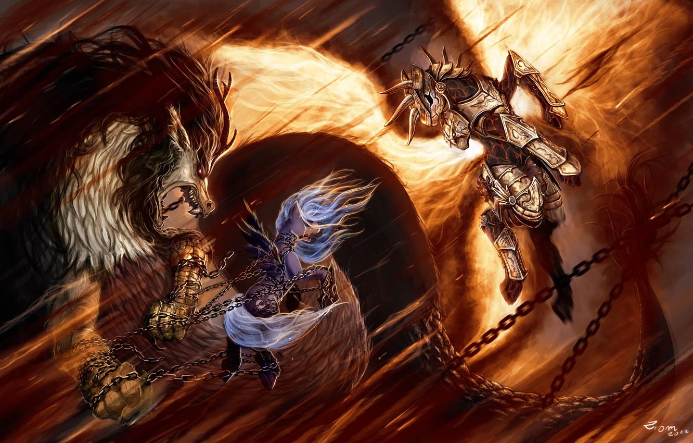 Photo wallpaper flame, dragon, figure, armor, The moon, fantasy, art, flame, battle, fantasy, chain, Princess, armor, art, …