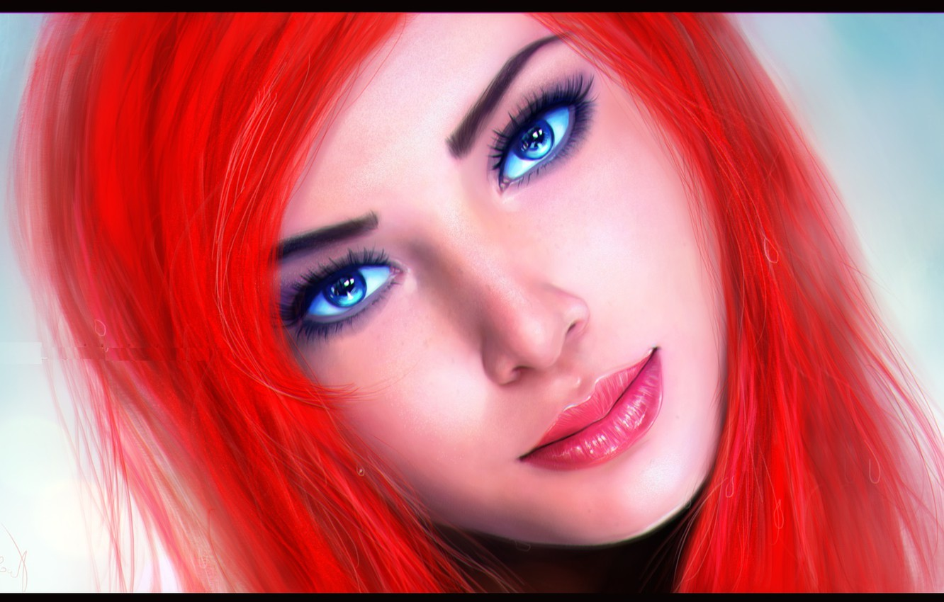 Photo wallpaper look, face, background, blue eyes, Ariel, the little mermaid, red hair