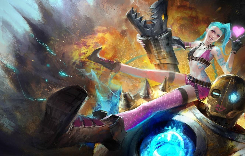 Wallpaper Girl Weapons Fire Robot Explosions Art Heart
