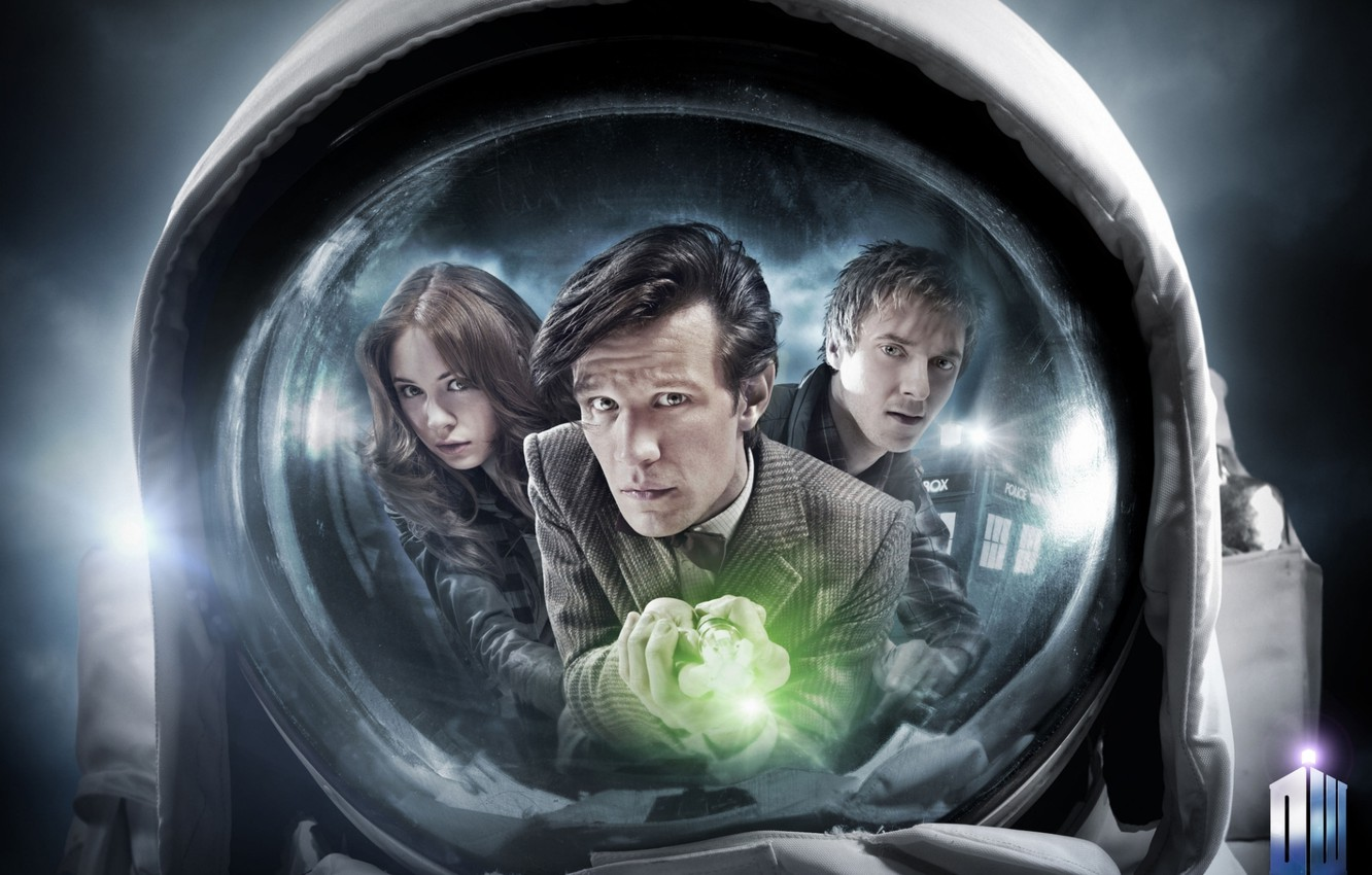Photo wallpaper look, girl, reflection, actress, face, actor, male, the series, jacket, Doctor Who, astronaut, Doctor Who, …