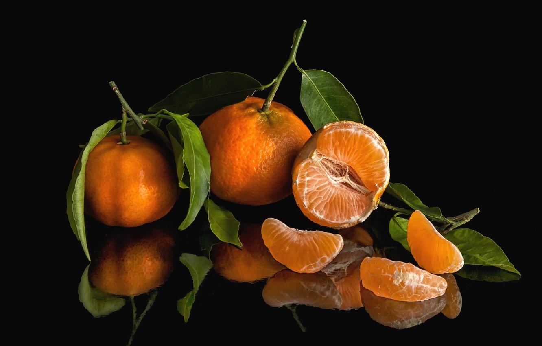 Photo wallpaper reflection, fruit, citrus, slices, the fruit, Mandarin