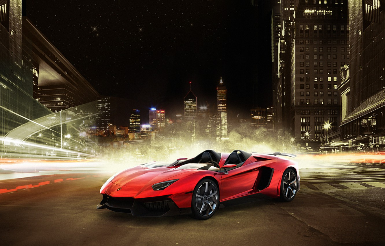 Photo wallpaper night, the city, Lamborghini, supercar, Lamborghini, Aventador J