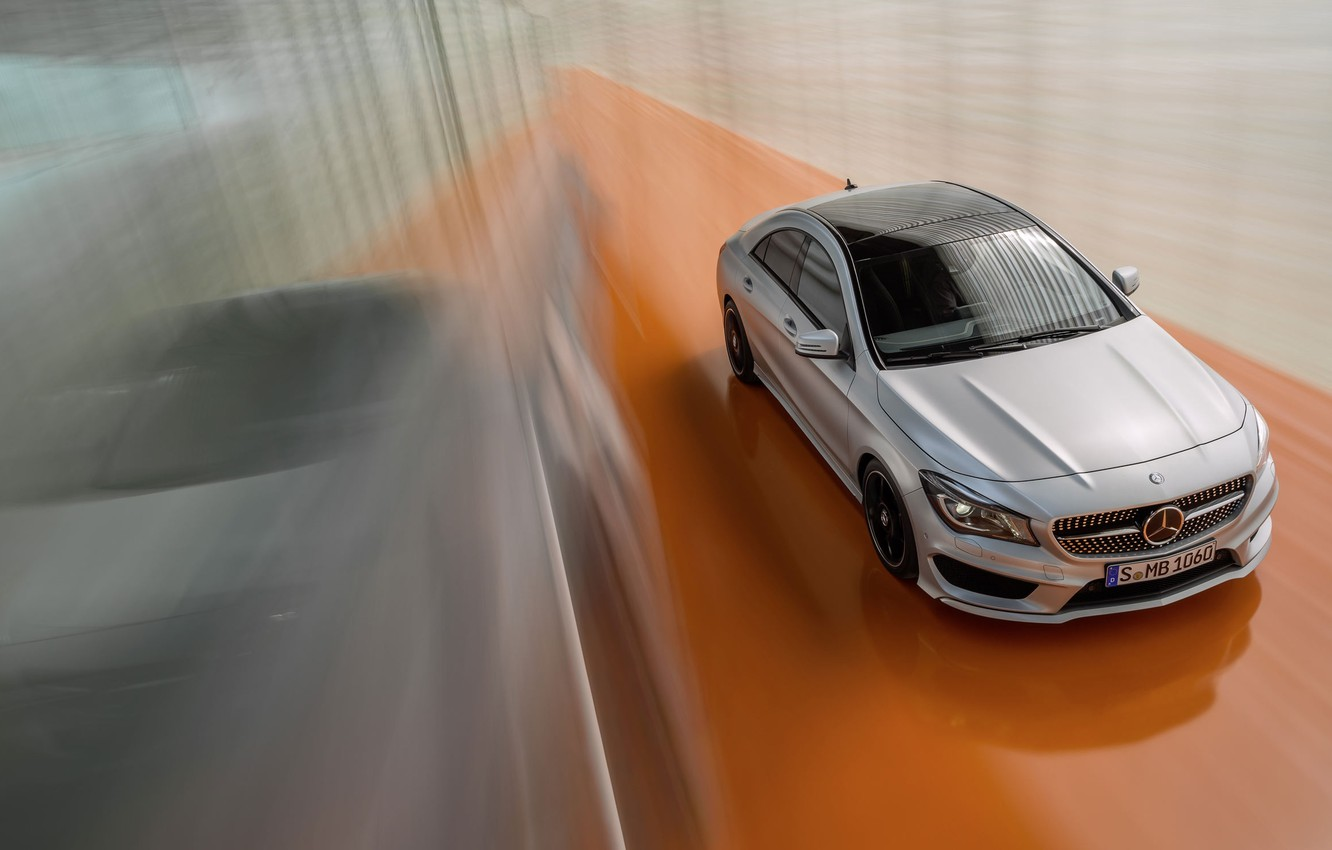Photo wallpaper Mercedes-Benz, Machine, Silver, Matt, In Motion, The view from the top, CLA Class
