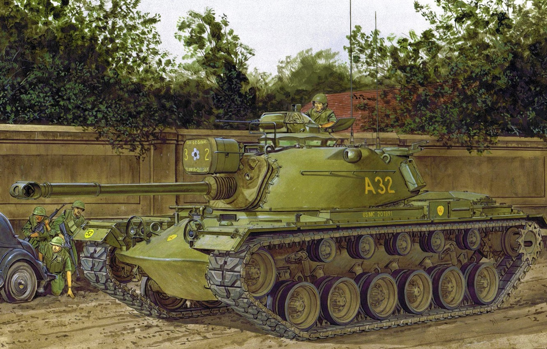 Photo wallpaper war, art, painting, tank, M48 Patton